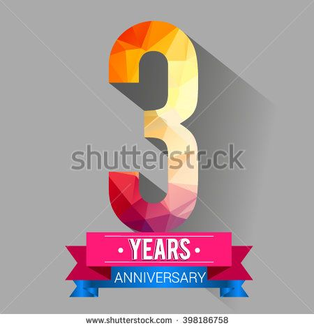 3 Years Anniversary logo. with colorful polygonal. - stock vector