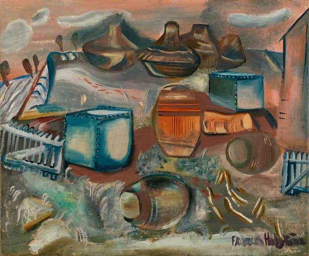 Hodgkins, Frances, (1869-1947), Tanks, Barrels and Drums, 1937, Oil