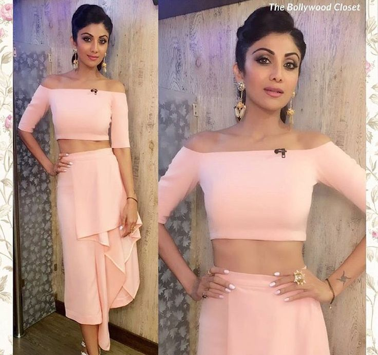 Lola by Suman b # Shilpa Shetty # peach love # off shoulder love #