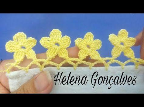 Bico de crochê flores #199 - YouTube