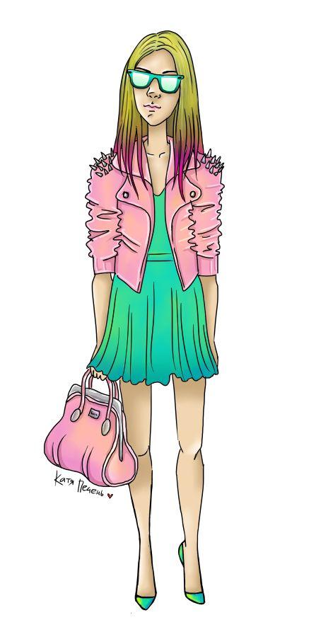 розовая сумка, розовая косуха, розовая куртка с шипами, бирюзовое платье