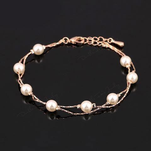 Double Fair Charm Bracelets & Bangles Silver/Rose Gold