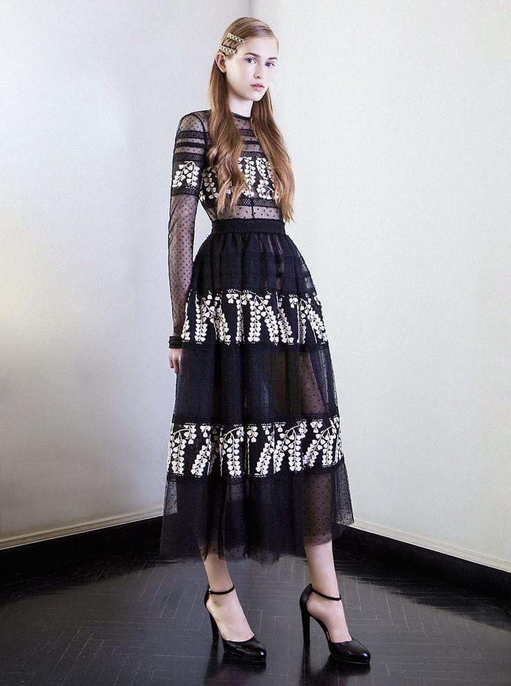 PR 1728  Embroidered Tulle Tea Length Ball Dress, Black