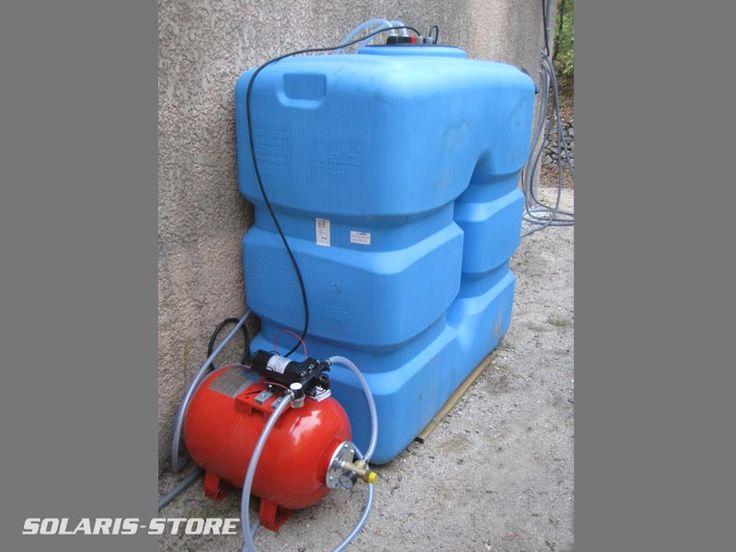 Ardèche (07) / Cuve de récupération dans laquelle sera stockée l´eau. Une pompe de surface avec surpresseur permet de l´utiliser à la demande.