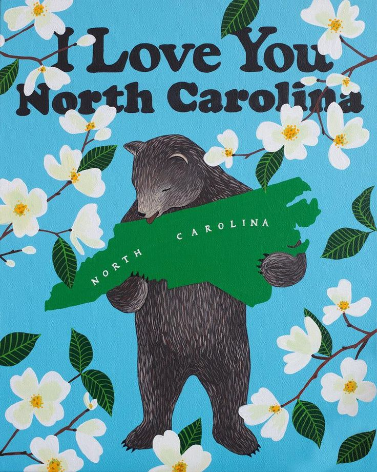 "We're celebrating the beauty of the Tar Heel state with our ""I Love You North Carolina"" print. Prints are 8-color UltraChrome K3™ inks on 300 gsm Hot Press Bright paper. These are archival prints of t"