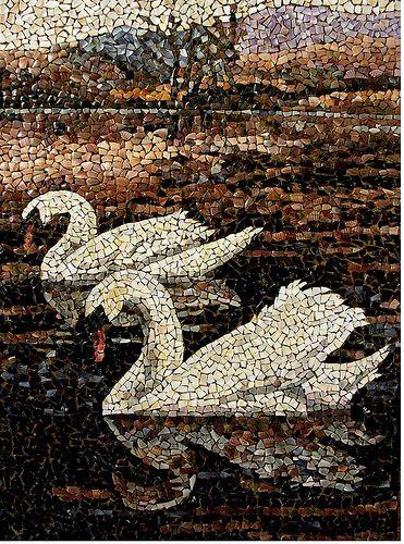 """mosaico-105 """"Cisnes""""  (06-03-2009)   (50 x 71cm.)"""
