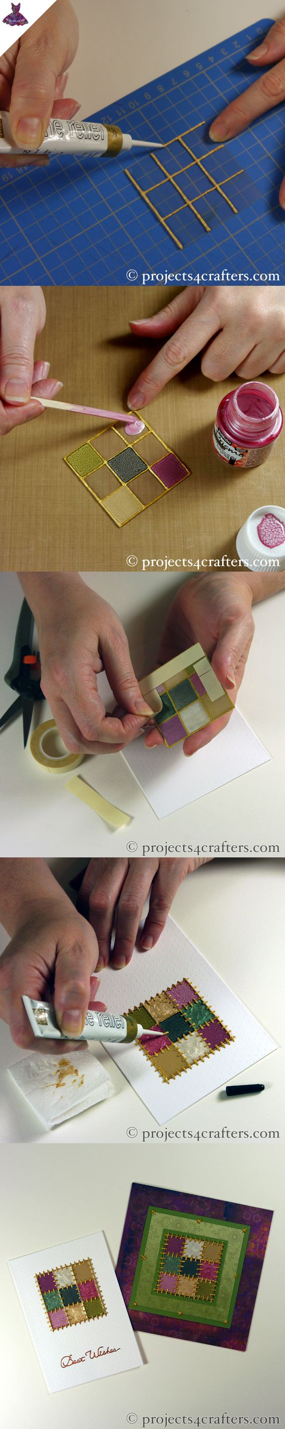Draw a grid on an acetate square with Cerne Relief & leave to dry. Then fill in the areas with Fantasy Prisme & Moon Paints & leave to dry. Use double-sided tape to stick the acetate to the card before creating 'stitches' with more Cerne Relief. Leave to thoroughly dry.
