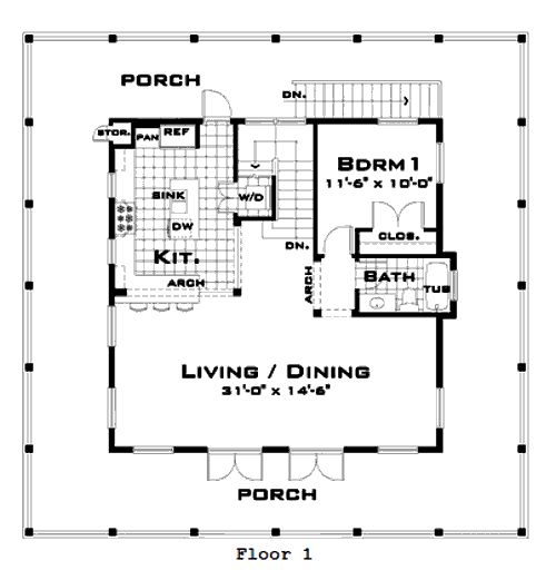 cracker cottage house plans - house interior