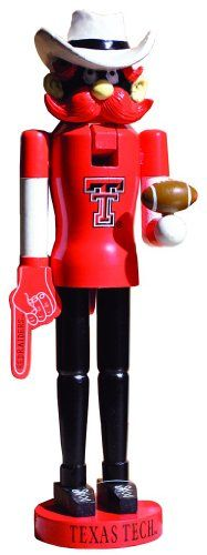 """Save $13.00 on 15"""" NCAA Texas Tech Red Raiders Mascot Decorative Wooden Christmas Nutcracker; only $51.99"""