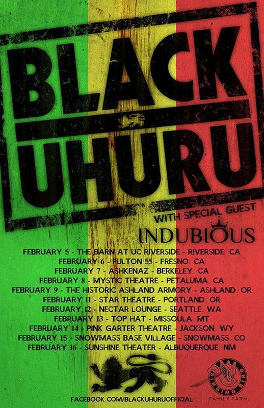 or check out the tour dates for black uhuru w special guests indubious and ras danny u0026 the reggae all star band grab your tickets soon click u0026 zoom