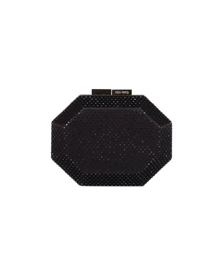 OLGA BERG SATIN JEWEL CLUTCH BAG S/S 2016 Black satin clutch bag decorated with rhinestones removable shoulder strap gold metal magnetic closure 18,5x15x2 cm