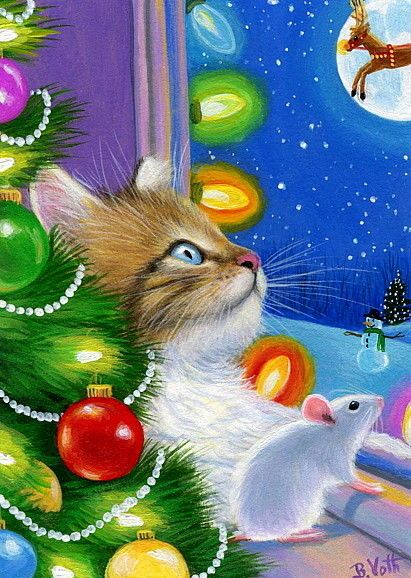 Kitten cat mouse Christmas tree window lights Rudolph original aceo painting art #Miniature