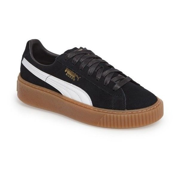 Womens Puma Suede Platform Core Sneaker ($100) ❤ liked on