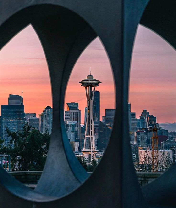 Seattle, through the sculpture at kerry park