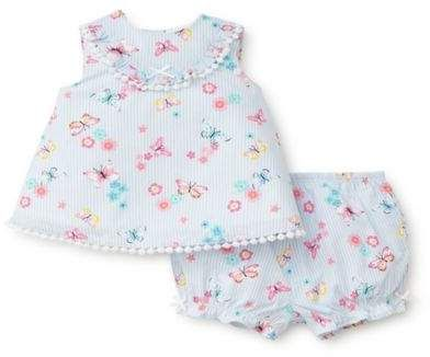 Little Me® 2-Piece Striped Butterfly Tunic and Bloomer Set in Blue