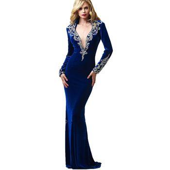 koyu mavi kadife seksi gece elbisesi uzun kollu derin v boyun denizkızı boncuklu kadife kadın resmi elbise