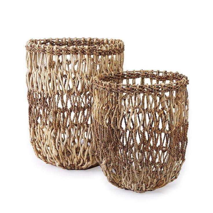 St. Frank   Water Hyacinth Open Weave Basket