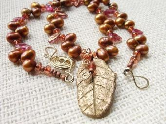 Kartisim Design | Jewelry Bronze metal clay leaf pendant- rustic