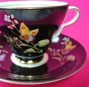 Tea cup & saucer Taylor & kent Longton cup and saucer black with butterflies