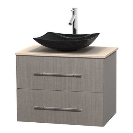 Charming Wyndham Collection Centra 30 Inch Single Bathroom Vanity In Gray Oak, Ivory  Marble Countertop, Nice Design
