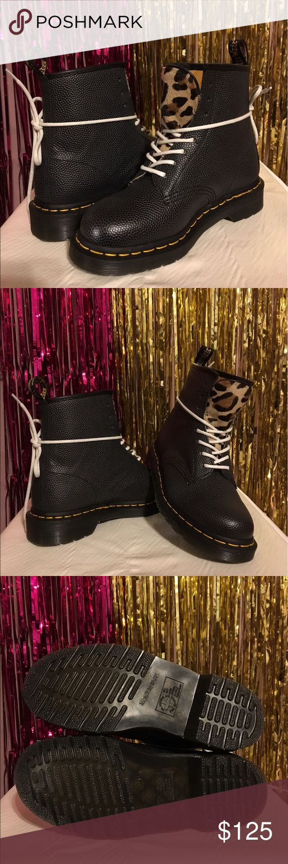 STUSSY x DR MARTENS 1460 THIS EXCLUSIVE BOOT FEATURES AN 8-EYE LACE-UP FASTENING, CHEETAH-PRINT FAUX PONY SKIN TONGUE, TWO PAIRS OF LACES (BLACK AND WHITE) AND IS FINISHED IN A PREMIUM PEBBLE-TEXTURED BLACK LEATHER AND DUAL BRANDED SOCKLINER. OF COURSE ALL THE ICONIC 1460 DETAILS ARE THERE TOO INCLUDING THE CLASSIC DR. MARTENS HEEL LOOP, YELLOW WELT STITCHING AND BOUNCING AIRWAIR SOLE. Stussy Shoes Lace Up Boots