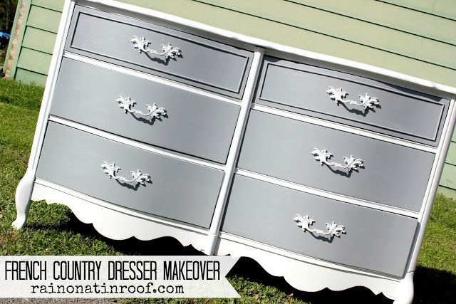 Love the two tone! French Country Dresser Makeover with Homemade Chalk Paint {rainonatinroof.com}