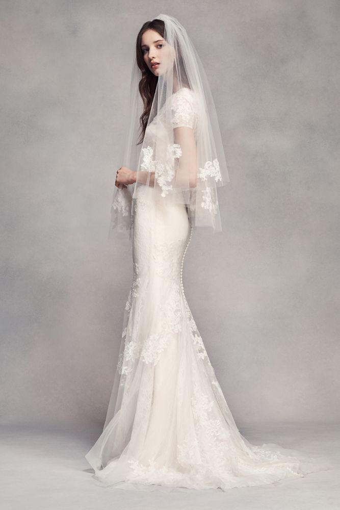 Fingertip Veil with Lace Appliques - Ivory