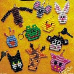 animal faces of woven beads
