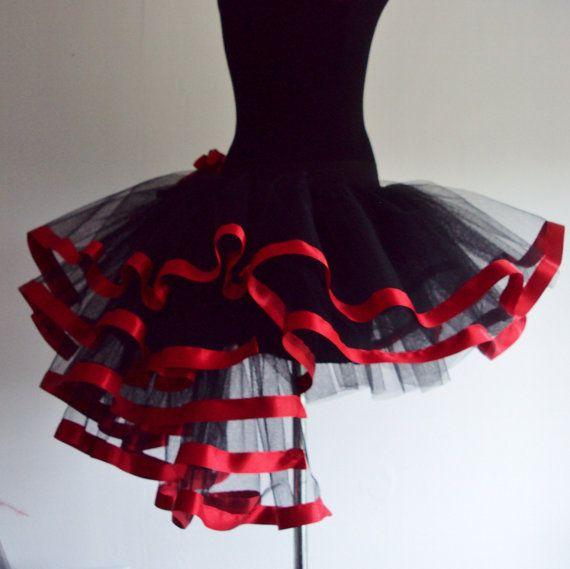 Black Red tutu skirt Burlesque size U.S. 4 10 by thetutustoreuk