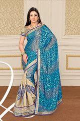 #Blue and #cream colour #brasso material #designer #saree #sari