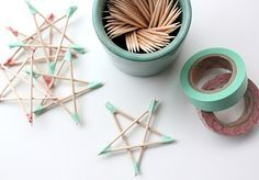 Christmas star. Like this idea for the kiddies. Use qtips instead dipped in Elmer's glue. Place on wax paper. Allow to dry. Paint, glitter, sequin to ur hearts delight!