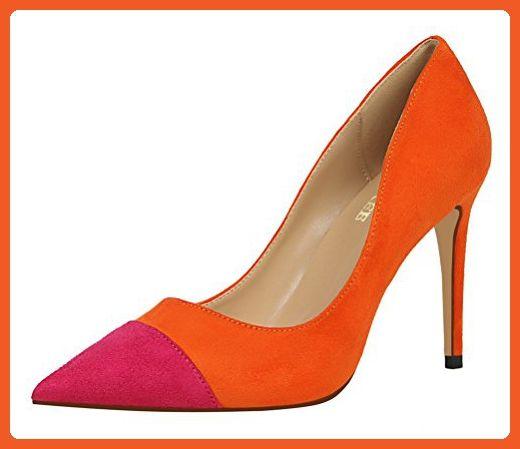 T&Grade Women Fashion European Style Low Cut Slip On Color Match Thin High Heel Pumps(7 B(M) US, Orange) - Pumps for women (*Amazon Partner-Link)