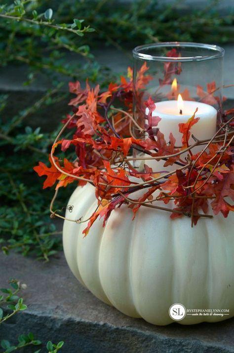 DIY Pumpkin Candle Holder #michaelsmakers