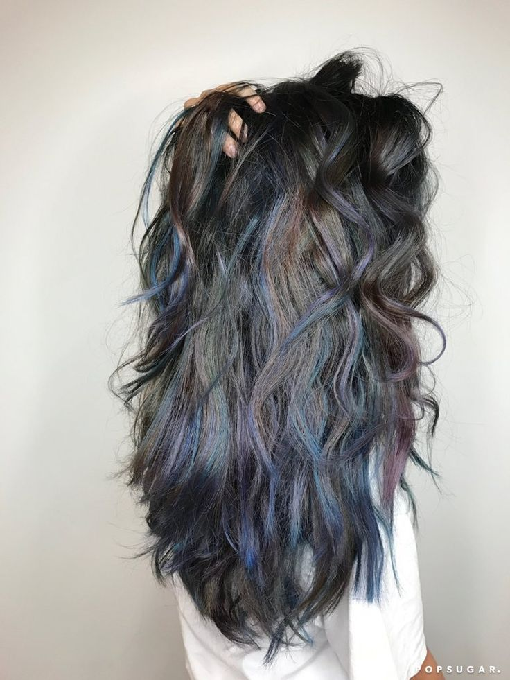 Oceanic brunette is the best rainbow hair trend for those with dark hair