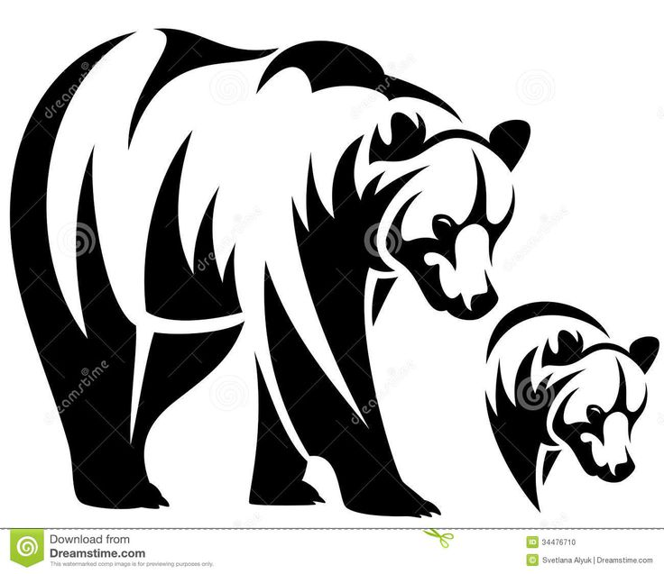 Brown Bear Tattoo Designs | Walking bear and animal head black and white outline emblem.