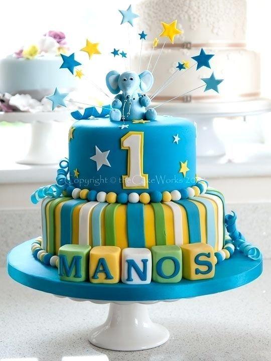 Birthday Cake Designs 1 Year Old Boy Di 2020 Dengan Gambar Kue