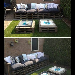 Outside pallet furniture, thanks DIY!