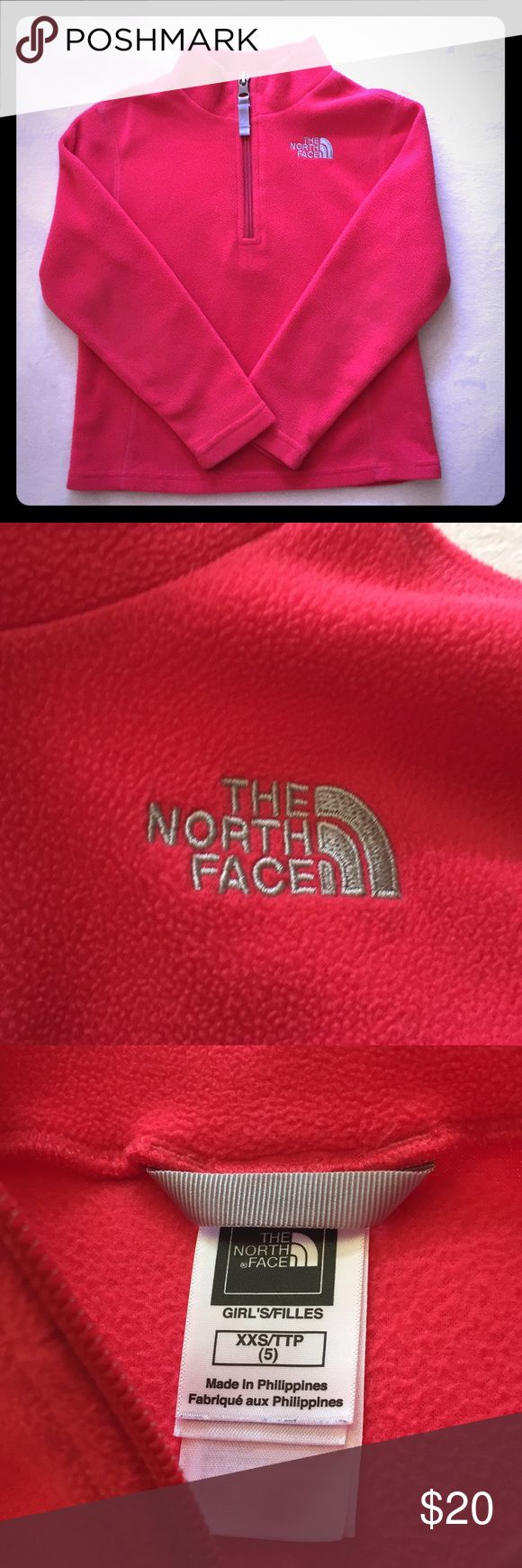 North Face Girls Glacier 1/4 Zip Fleece XXS (5) Bright warm lightweight fleece pullover. In excellent condition. Size XXS (5) The North Face Shirts & Tops Sweatshirts & Hoodies
