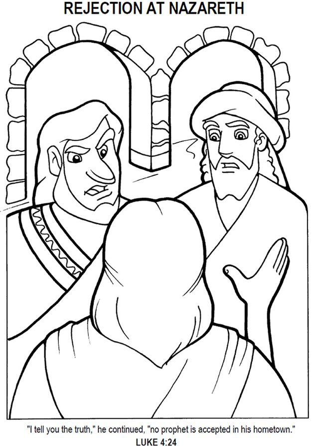 Jesus Rejected In Nazareth Coloring Page Jesus Crafts Bible