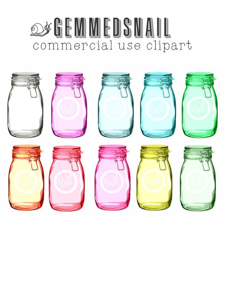 Mason jar clip art, ball jar clipart with transparency, looks like a real ball jar, 10 different colored jars