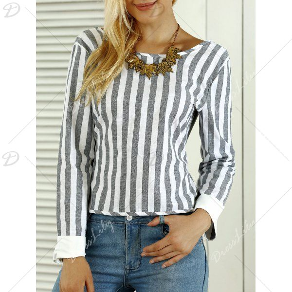 Striped Open Back Bowknot Blouse