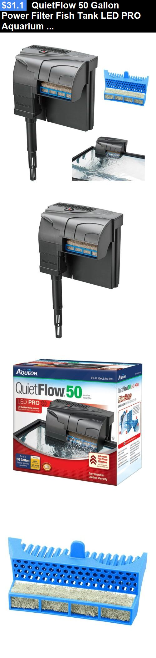 Animals Fish And Aquariums: Quietflow 50 Gallon Power Filter Fish Tank Led Pro Aquarium Clean Water 250 Gph BUY IT NOW ONLY: $31.1