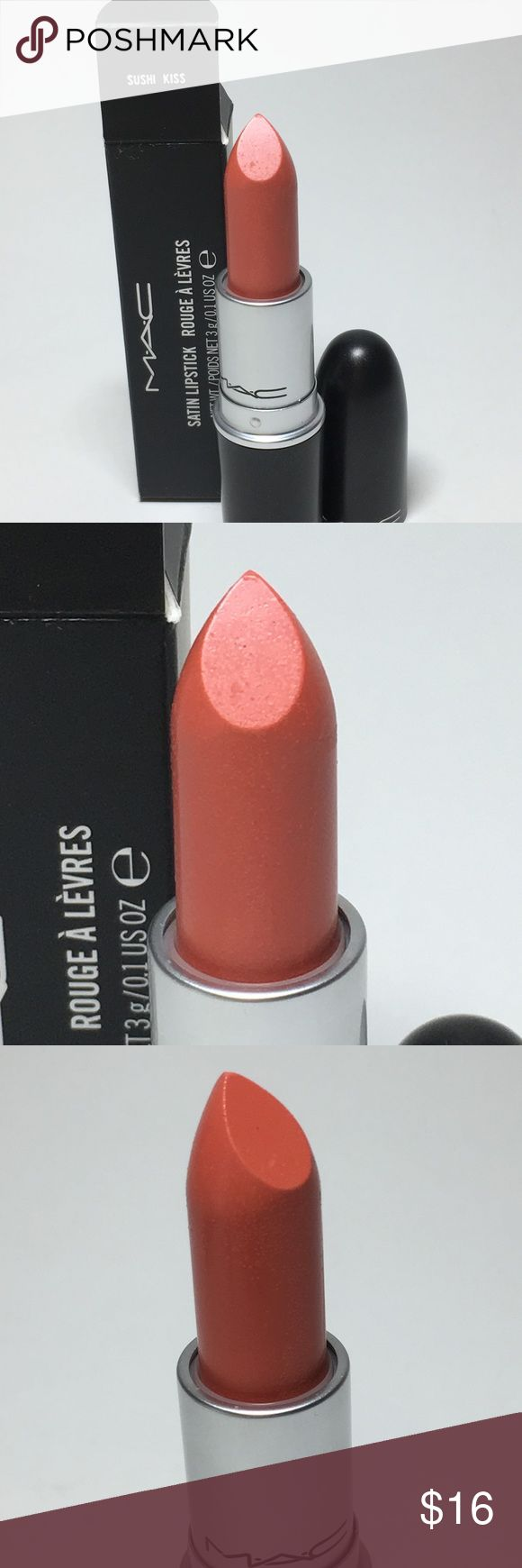 NIB Mac Sushi Kiss A23 Satin 100% Auth NIB Mac Cosmetics Sushi Kiss Batch code: A23. Satin. *Vanilla smell fading. 100% Authentic. Brand new, never used or tested. Just been sitting in my makeup drawer. Please see pictures as this is the actual item you will receive. Please feel free to ask any questions and I will get back to you as soon as possible. Thank you! MAC Cosmetics Makeup Lipstick