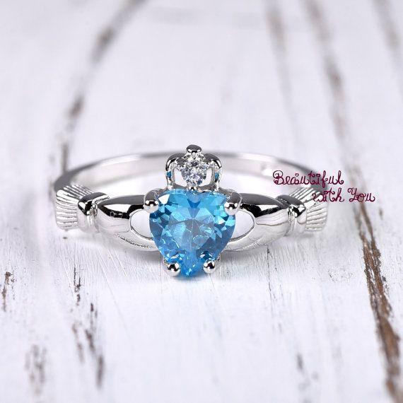 Topaze bleue bague anneau de Claddagh bague par BeautifulWithYou