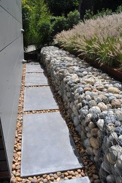Gabion Rock Retaining Wall modern landscape http://www.gabion1.co.uk                                                                                                                                                     More