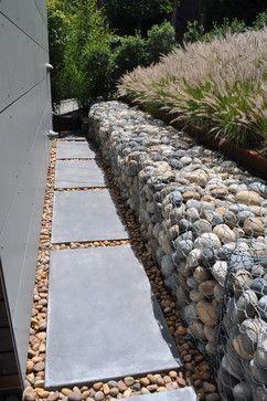 Gabion Rock Retaining Wall modern landscape http://www.gabion1.co.uk                                                                                                                                                     More