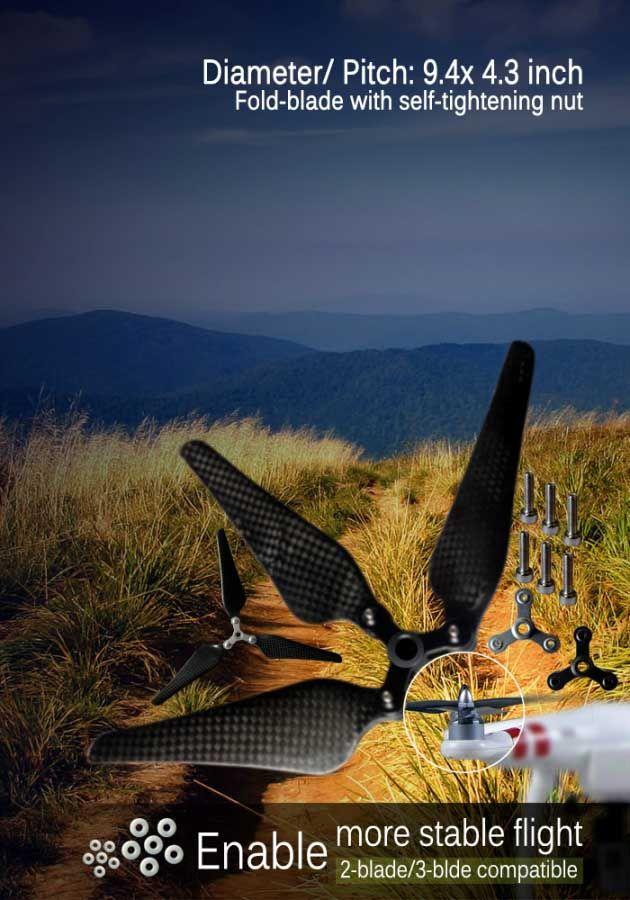 HOT!!! 3-blade folding carbon propeller for Phantom/Phantom2 Vision/Flame Wheel 330, 450, 550