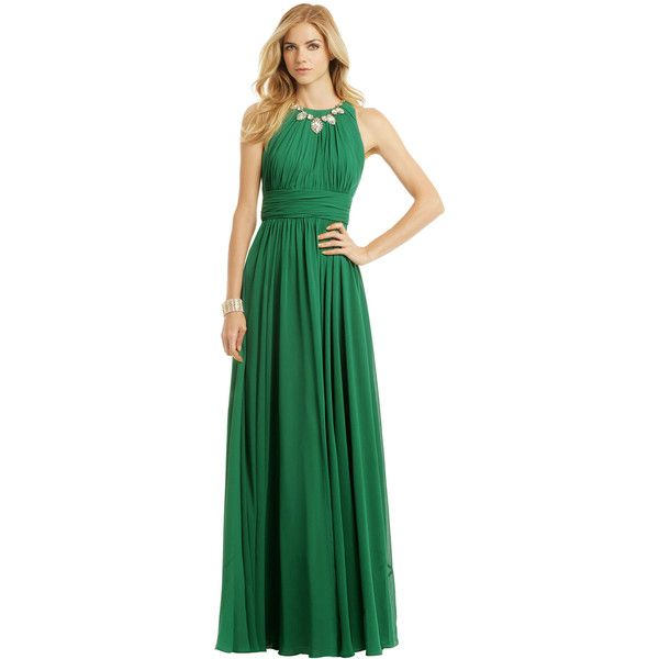 Rental Badgley Mischka Fluorite Emerald Gala Gown (£92) ❤ liked on Polyvore featuring dresses, gowns, green, emerald evening gown, full skirt, emerald green dress, green evening gown and emerald dress