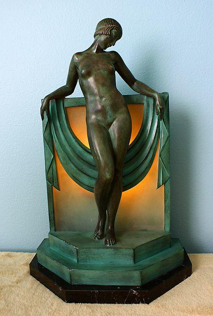 French Art Deco boudoir lamp, Pierre Le Faguays, 1920s-30s