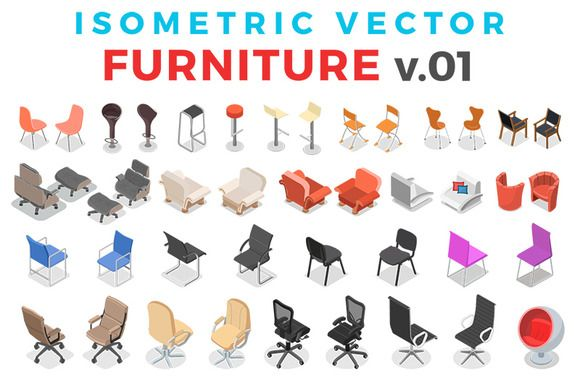 Vector Furniture Isometric Flat v.1 by Sentavio on @creativemarket